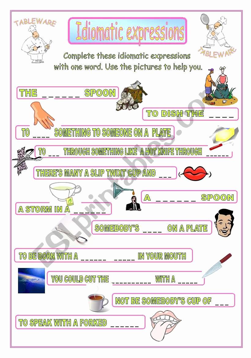 Super Teacher Worksheets Idioms Beautiful Idiomatic Expressions Tableware Esl Worksheet by