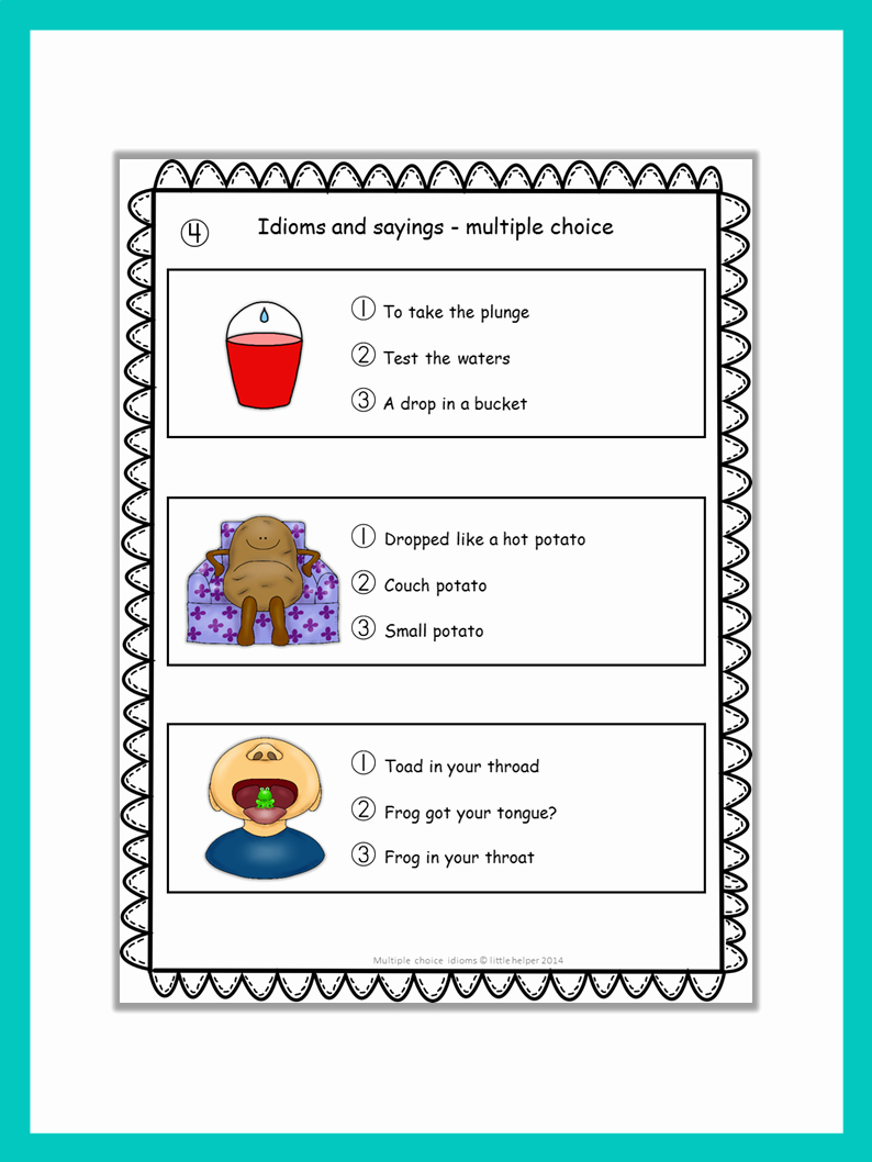 Super Teacher Worksheets Idioms Best Of Idioms and Sayings Multiple Choice Tests