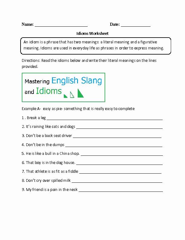 Super Teacher Worksheets Idioms Best Of Idioms Worksheet Intermediate