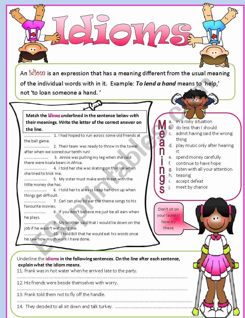Super Teacher Worksheets Idioms Inspirational Idioms Esl Worksheet by Tech Teacher