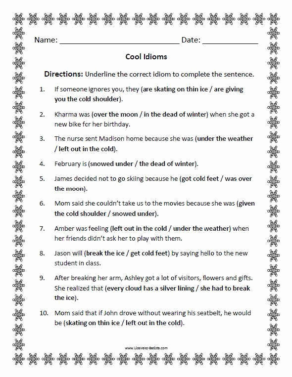 Super Teacher Worksheets Idioms Lovely Idioms Worksheets