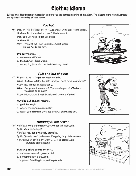 """Super Teacher Worksheets Idioms Unique From Super Duper S """"read Between the Lines"""" Book with"""
