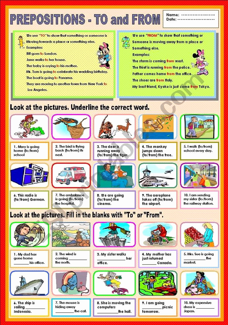 Super Teacher Worksheets Prepositions Best Of Prepositions to and From Esl Worksheet by Ayrin In