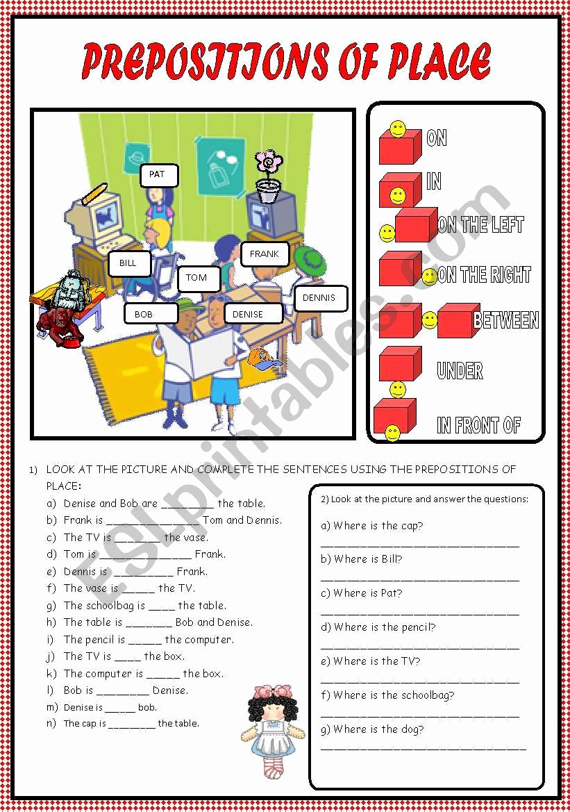 Super Teacher Worksheets Prepositions Lovely This is A Review Activity About Prepositions Of Place