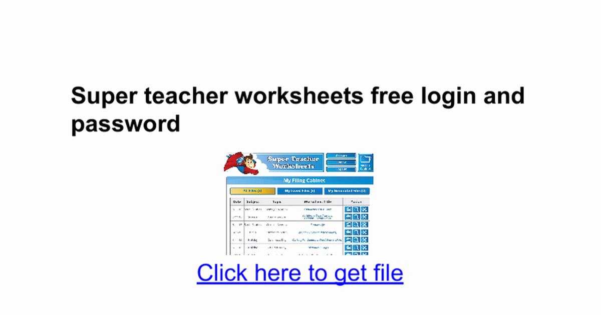 Superteacher Worksheets Login Elegant Super Teacher Worksheets Login and Password