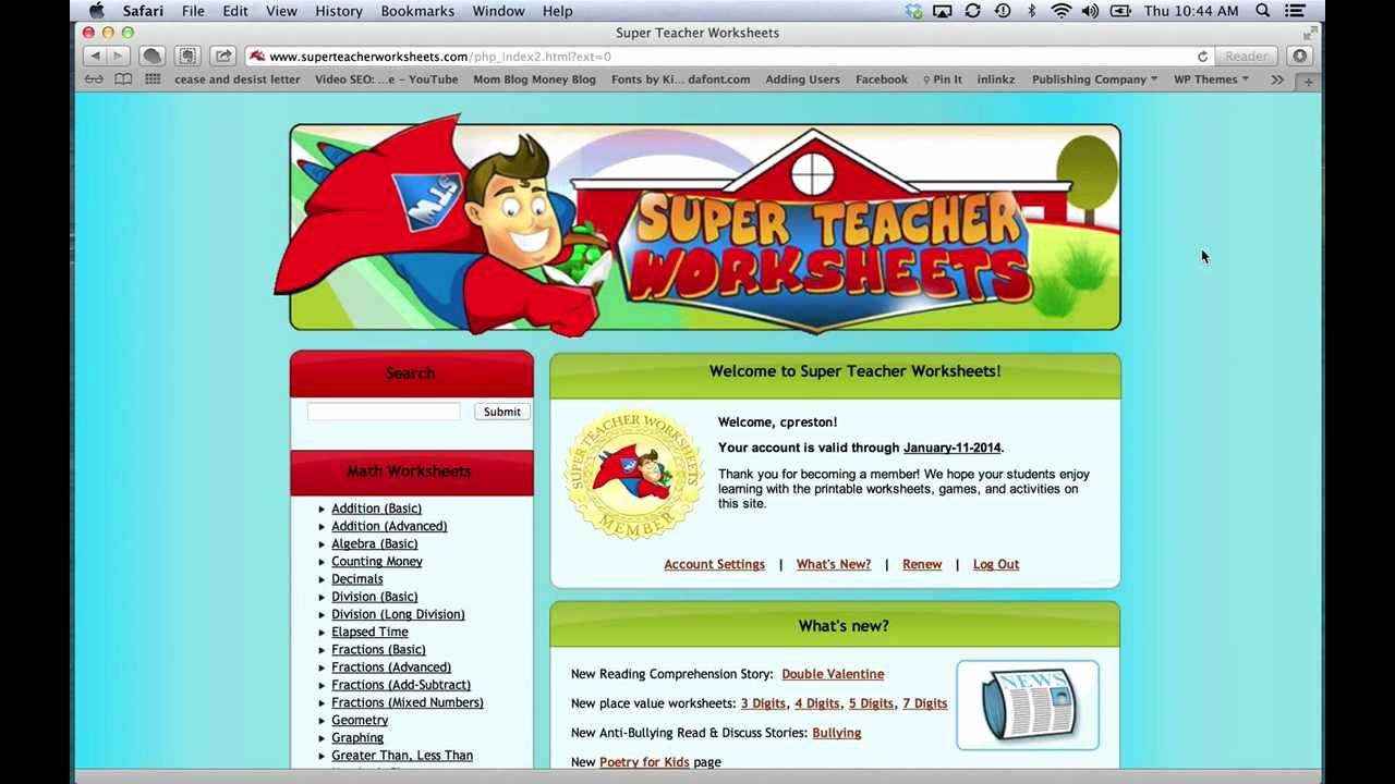 Superteacher Worksheets Login Lovely Super Teacher Worksheets Review