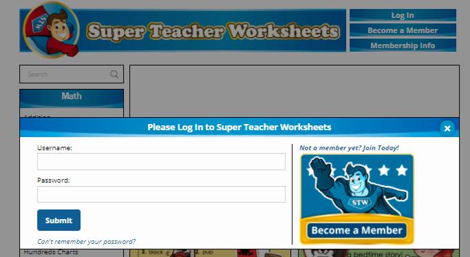 Superteacherworksheets Com Username Password Lovely Super Teacher Worksheets