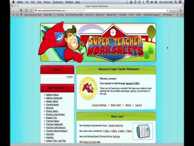 Superteacherworksheets Com Username Password Unique Super Teacher Worksheets Password