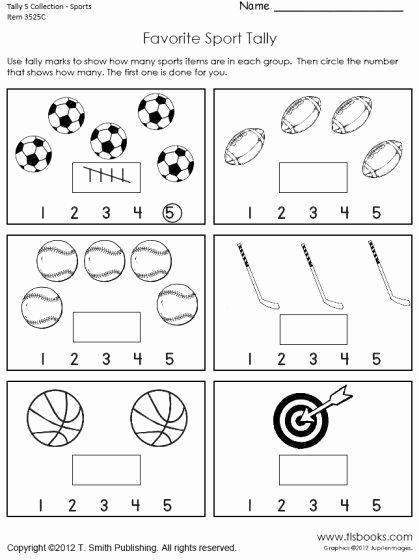 Tally Mark Worksheets for Kindergarten New Tally Marks Worksheets Pre K In 2020
