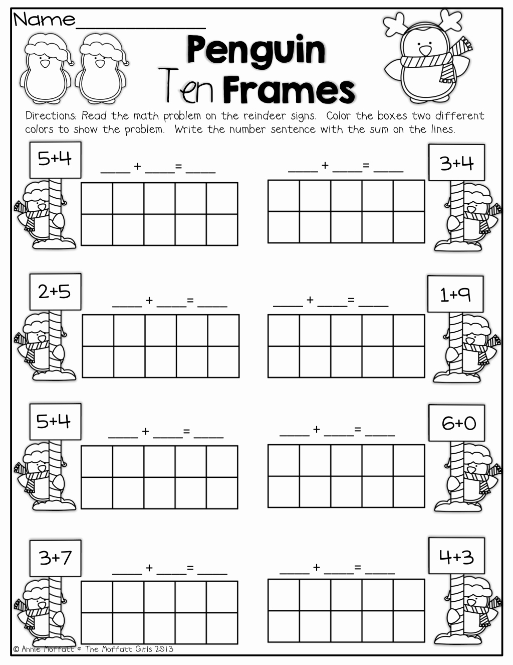 Ten Frames Worksheets Elegant Penguin 10 Frames Kinderland Collaborative