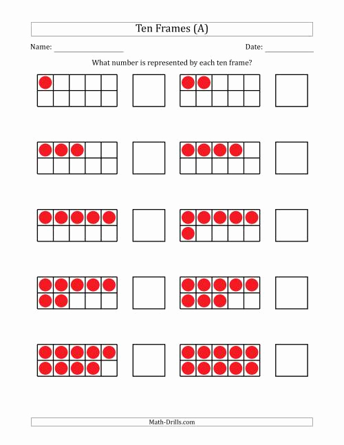Ten Frames Worksheets Luxury Pleted Ten Frames with the Numbers In order A