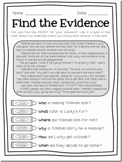 Text Evidence Worksheets 3rd Grade Best Of Find the Evidence Freebie Preview for Finding Text
