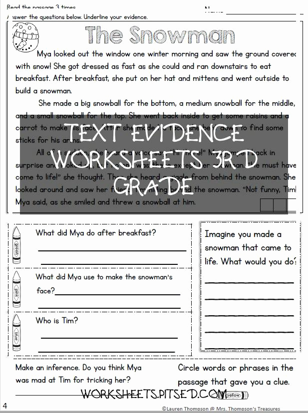 Text Evidence Worksheets 3rd Grade Unique Text Evidence Worksheets 3rd Grade – Super Worksheets