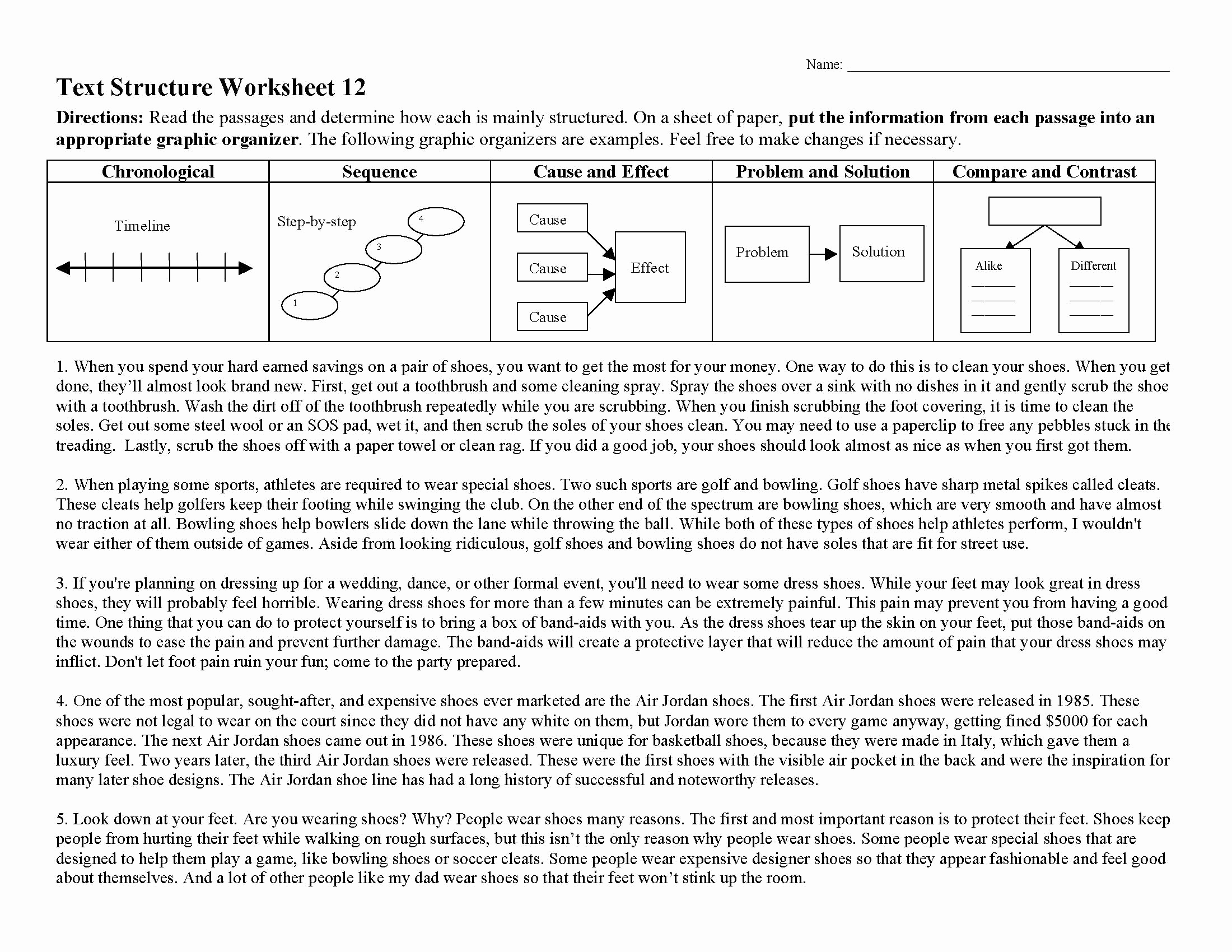 Text Structure Practice Worksheets Elegant Text Structure Worksheet 12