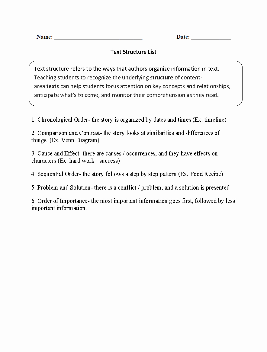 Text Structure Practice Worksheets Fresh Text Structure List Worksheets