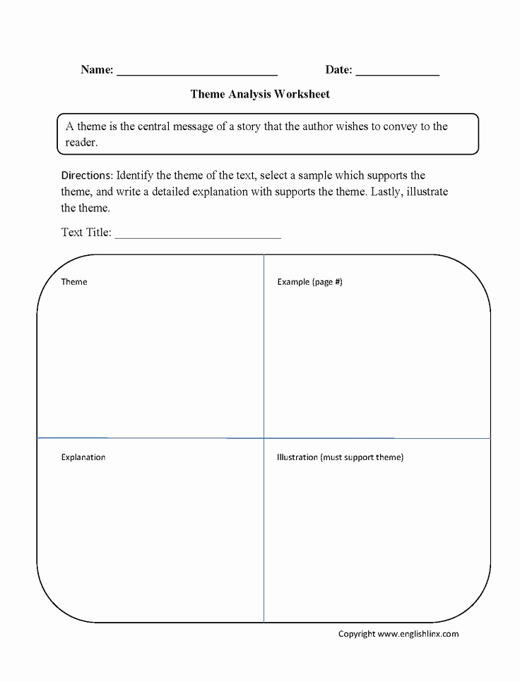 Text Structure Practice Worksheets Luxury theme Analysis Worksheet