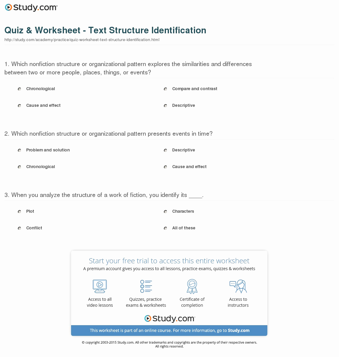 Text Structure Practice Worksheets New Quiz Worksheet Text Structure Identification Study — Db