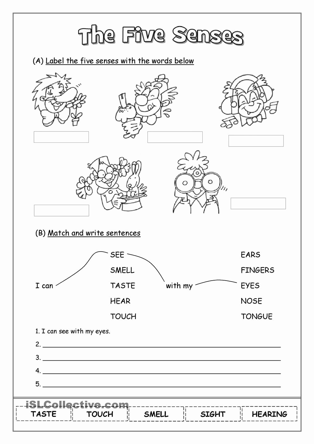The Five Senses Worksheets Lovely the Five Senses Kids Learning