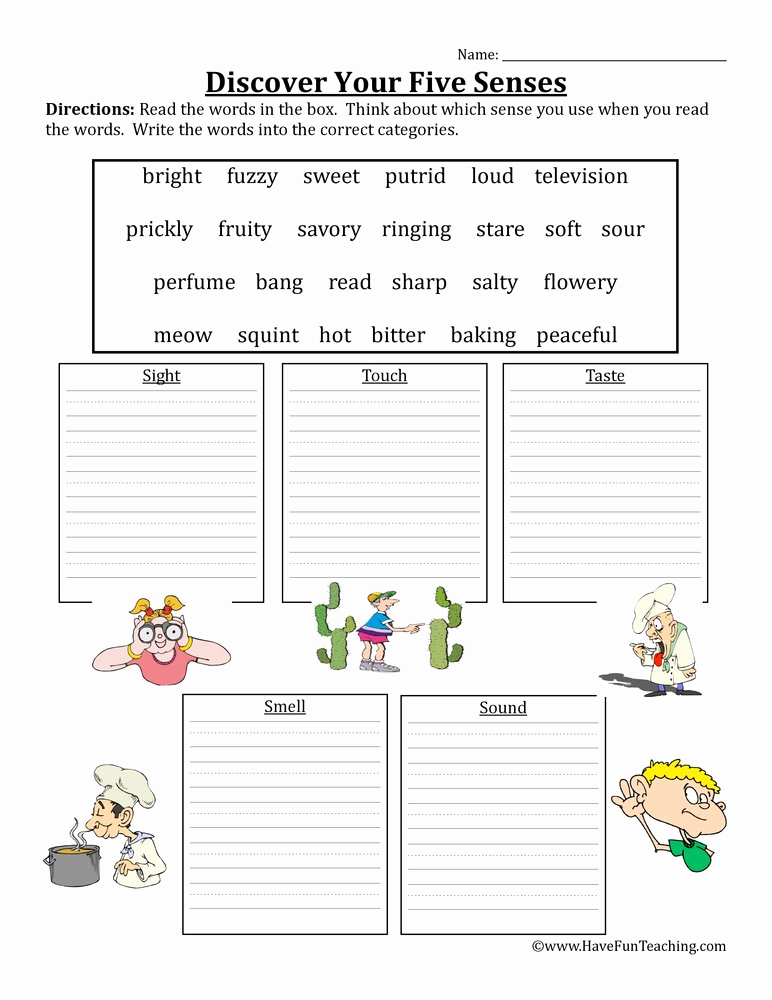 The Five Senses Worksheets Unique Five Senses Worksheet