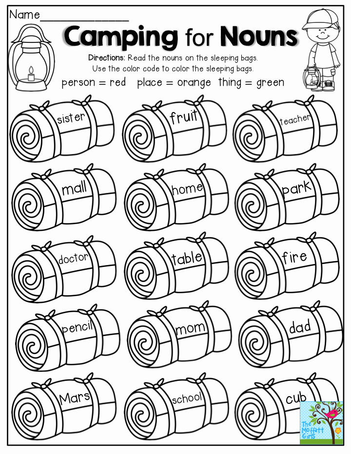 Theme Worksheets 2nd Grade Elegant Camping for Nouns Read the Nouns and Decide if they are A