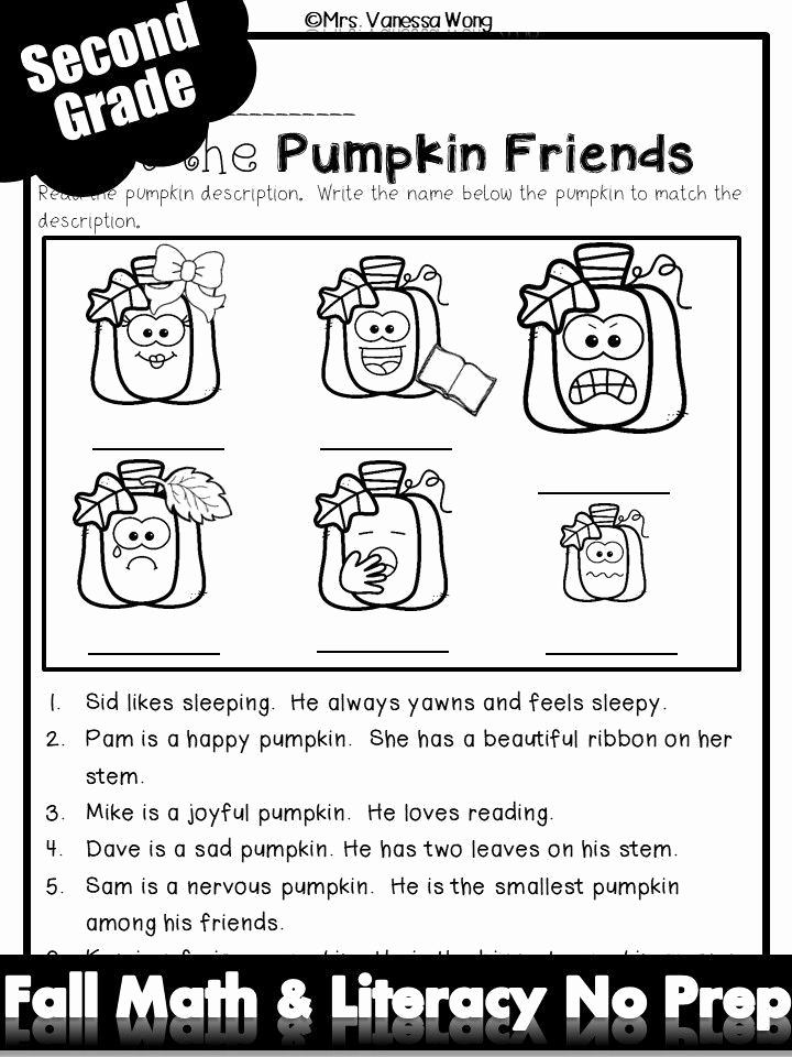 Theme Worksheets 2nd Grade Inspirational Fall Activities for Second Grade Math and Literacy No Prep