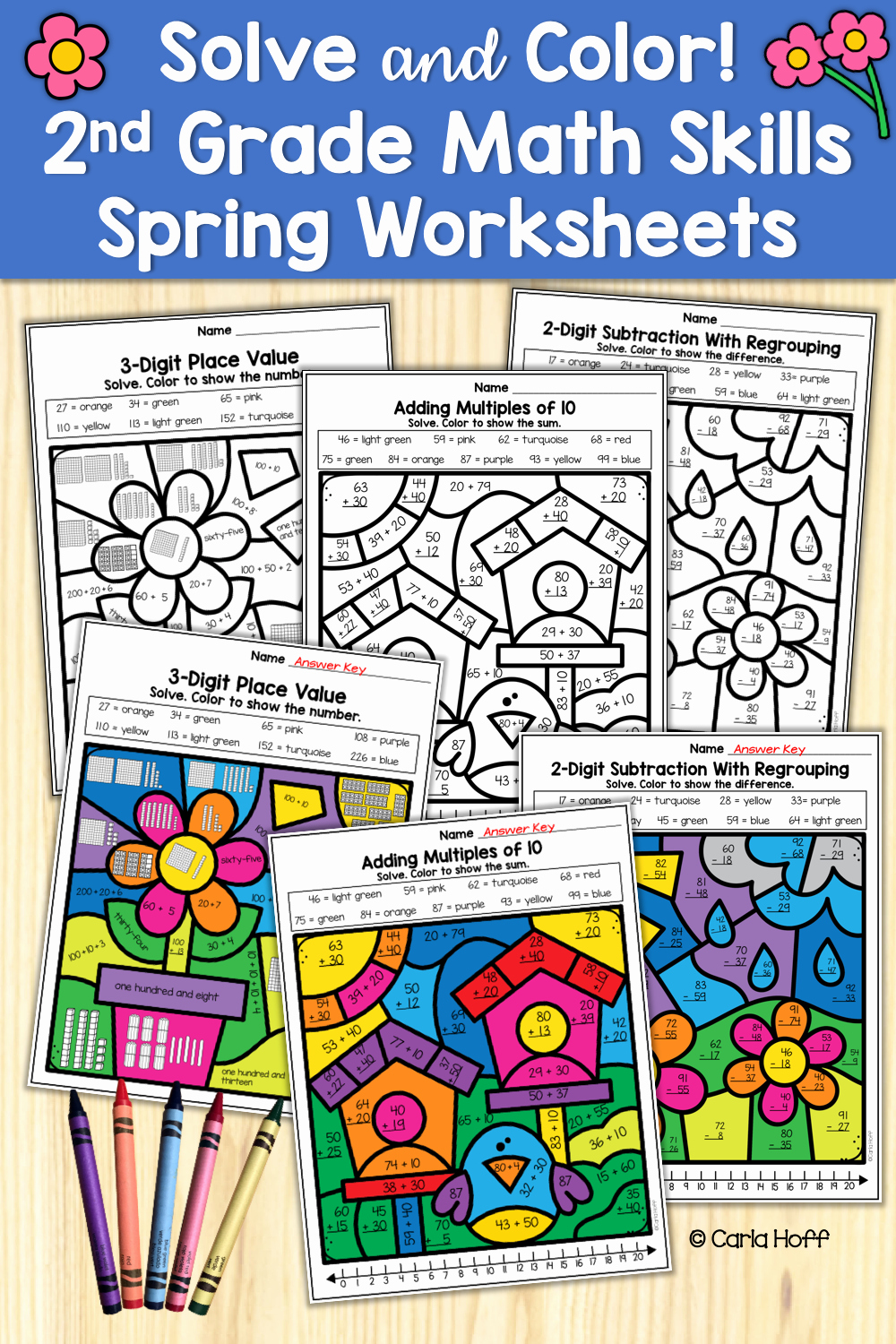 Theme Worksheets 2nd Grade Lovely solve and Color Worksheets with Spring themes Make