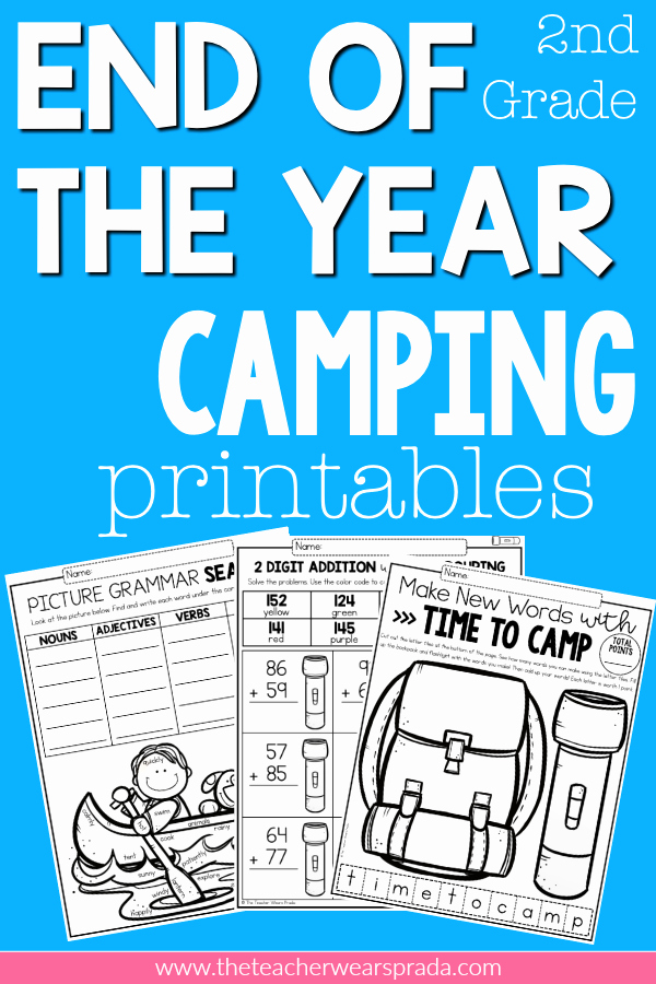 Theme Worksheets 2nd Grade New End Of the Year Camping themed Activities