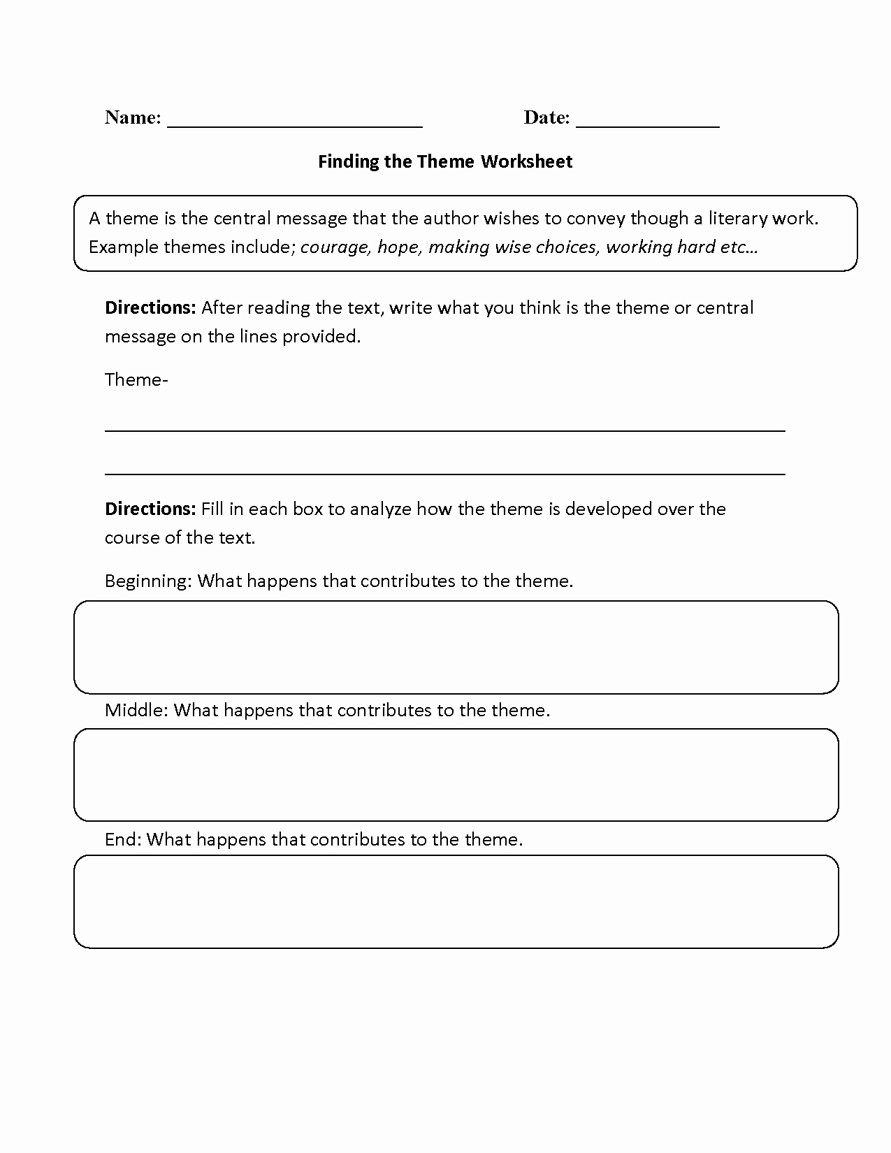 Theme Worksheets 5th Grade Awesome Finding the theme Worksheet Beginner