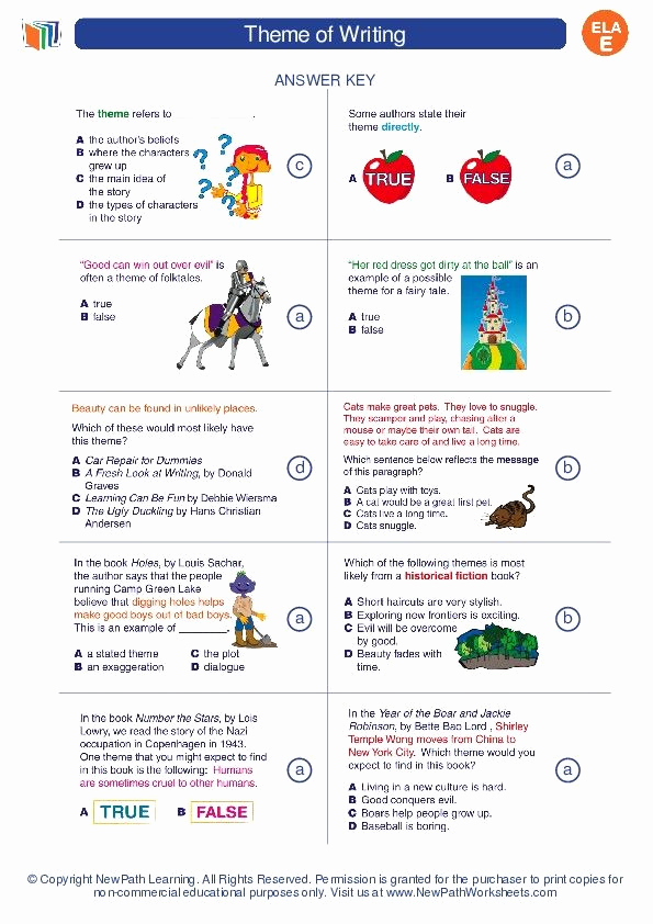 Theme Worksheets 5th Grade Elegant theme Of Writing English Language Arts Worksheets and