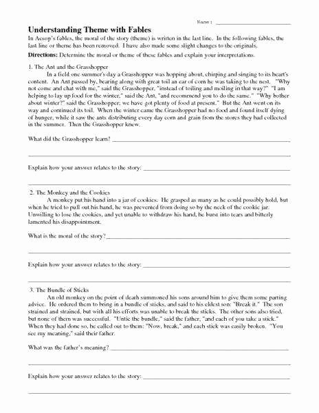 Theme Worksheets 5th Grade New Identifying theme Worksheets