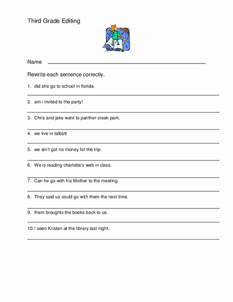 Third Grade Editing Worksheets Unique Third Grade Editing Worksheet for 3rd 4th Grade