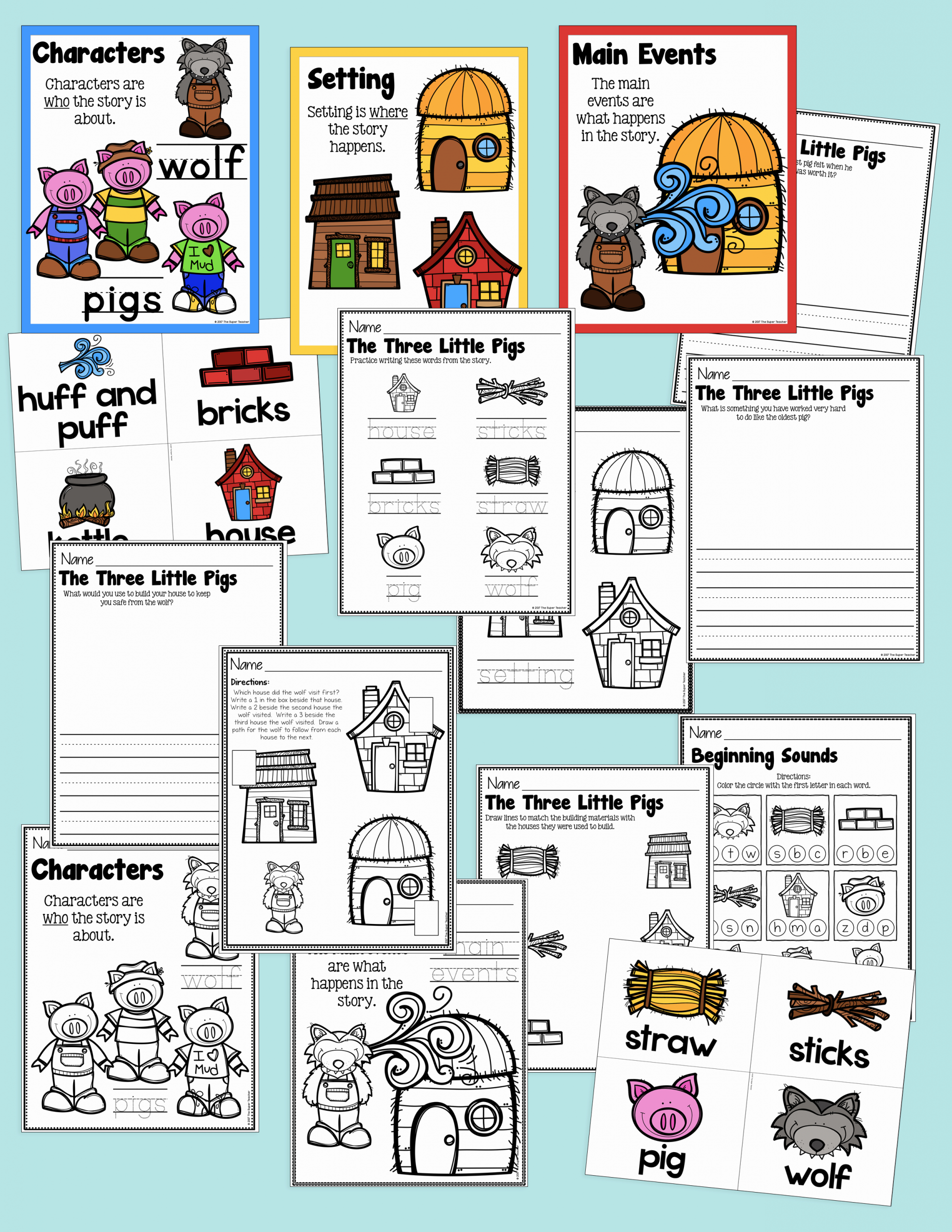 Three Little Pigs Worksheets Awesome Three Little Pigs Story Elements and Story Retelling