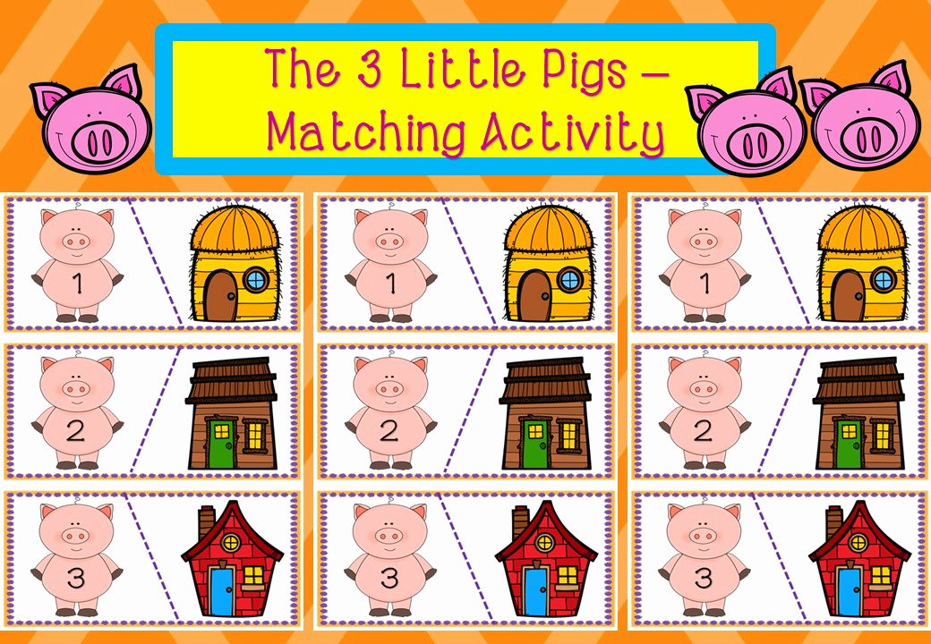 Three Little Pigs Worksheets Beautiful the Three Little Pigs Matching Activity – Mash