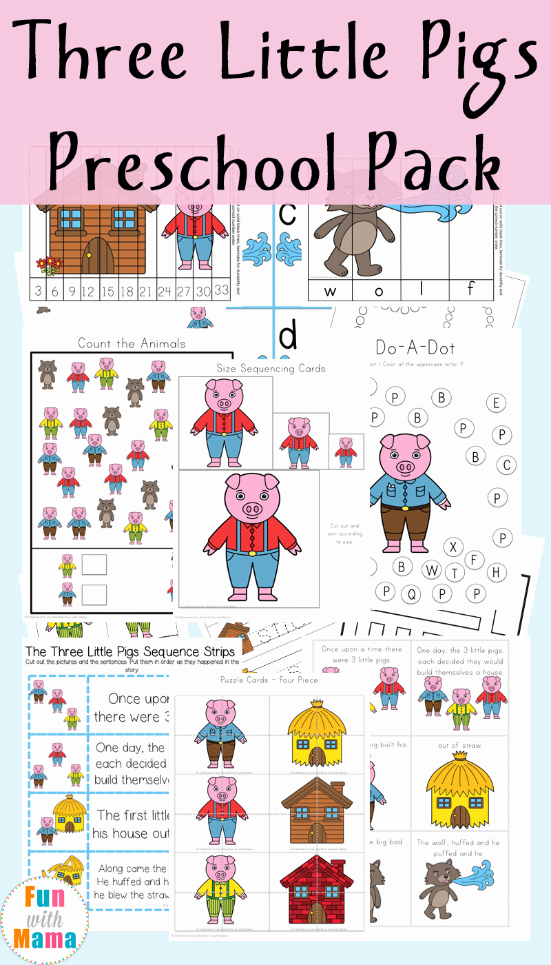 Three Little Pigs Worksheets Beautiful Three Little Pigs Activities Fun with Mama