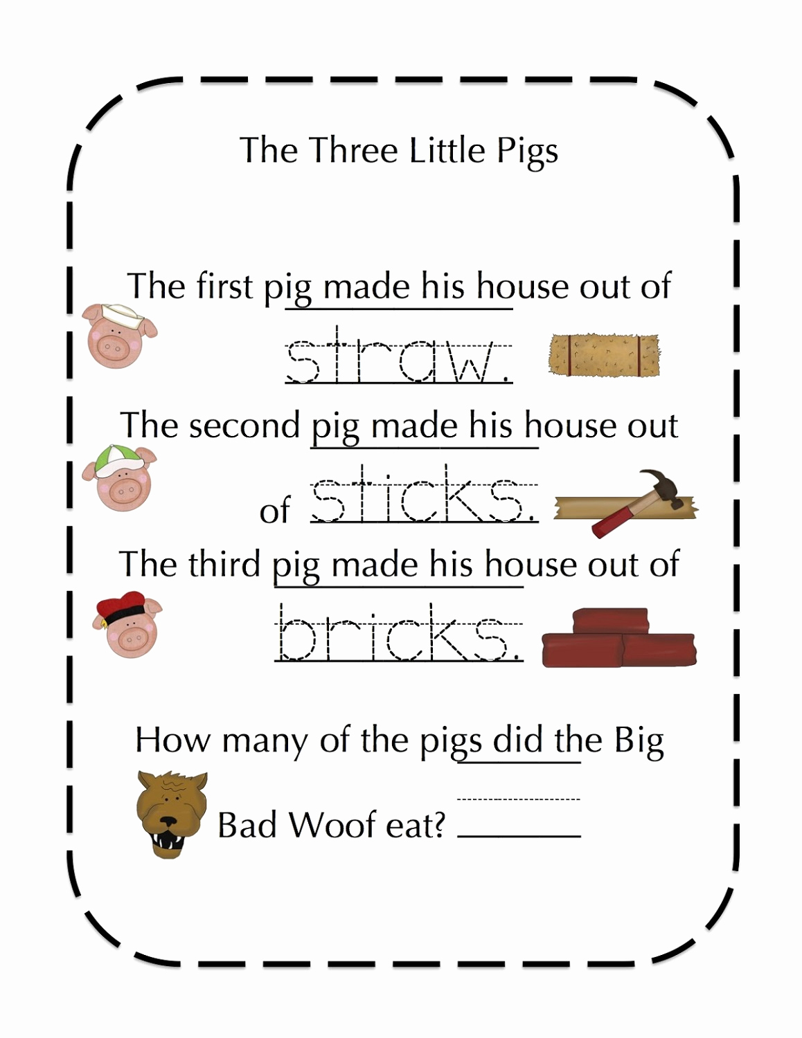 Three Little Pigs Worksheets Best Of the Three Little Pigs Worksheets