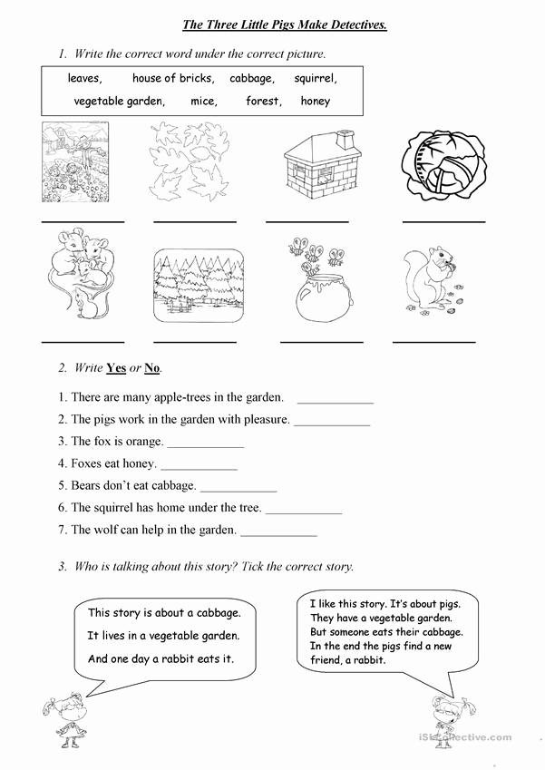 Three Little Pigs Worksheets Fresh the Three Little Pigs Make Detectives Worksheet Free Esl