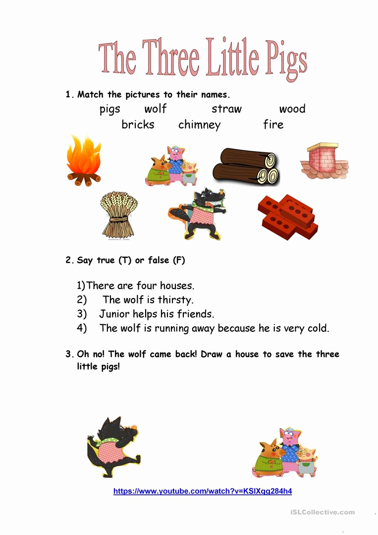 Three Little Pigs Worksheets Lovely Three Little Pigs Movie Worksheet English Esl Worksheets