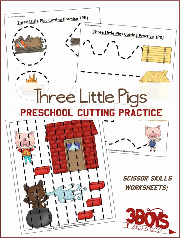 Three Little Pigs Worksheets Luxury Free Three Little Pigs Cutting Practice Pack
