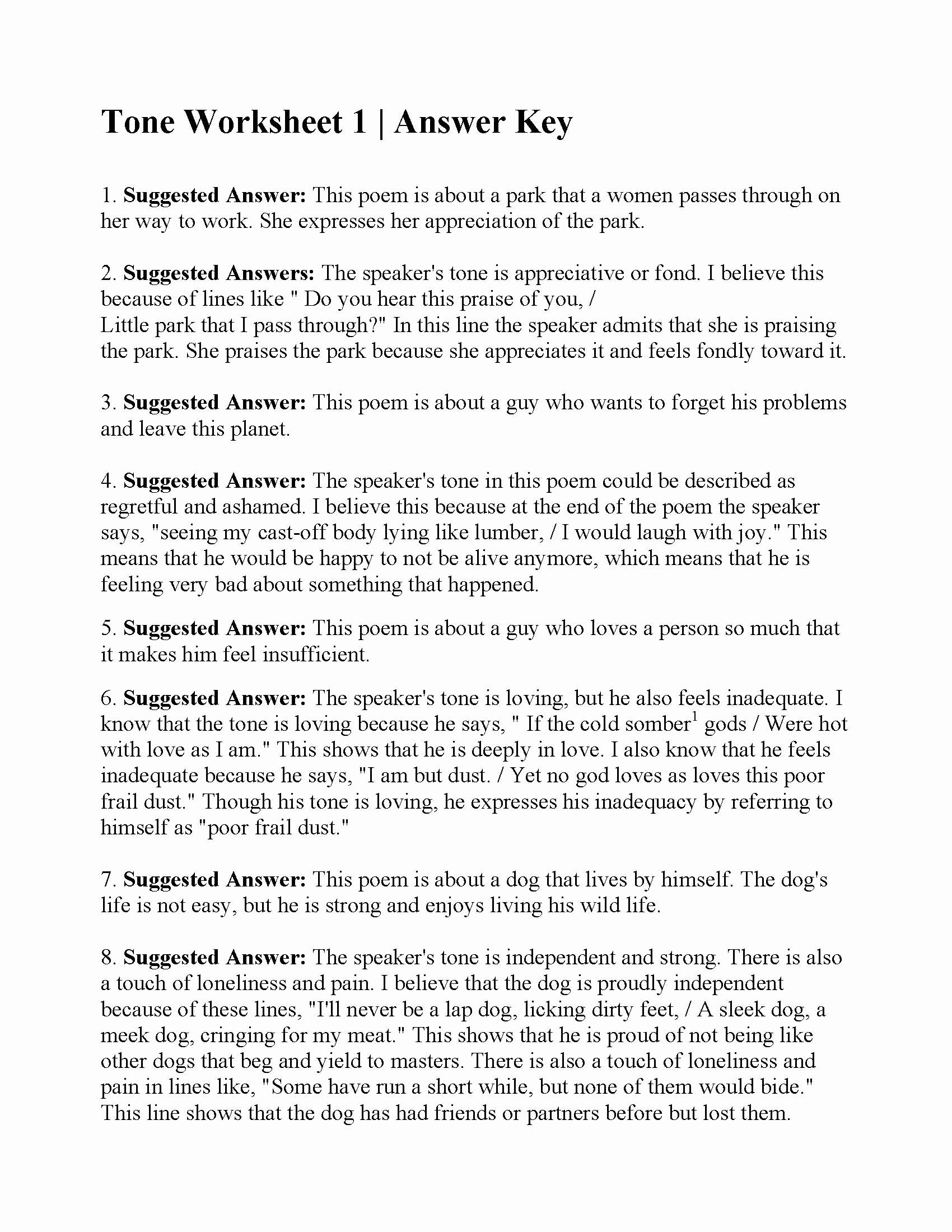 Tone and Mood Worksheet Pdf Lovely tone Worksheet 1