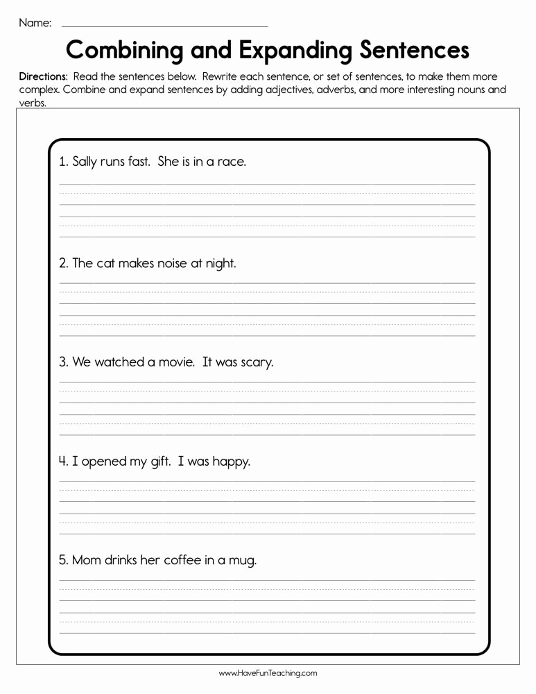 Topic Sentence Worksheets 5th Grade Beautiful 20 Bining Sentences Worksheet 5th Grade