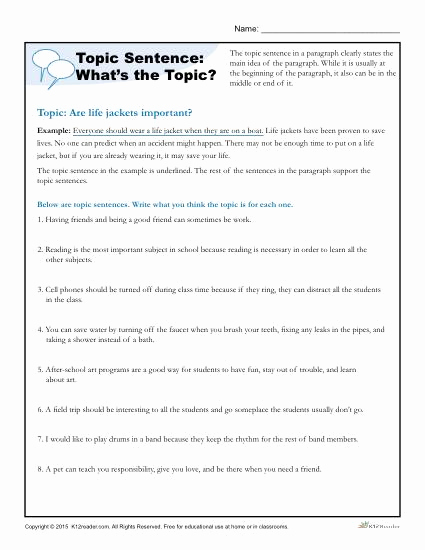 Topic Sentence Worksheets 5th Grade Lovely topic Sentence What's the topic