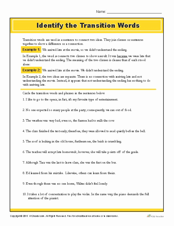 Transition Words Practice Worksheet Awesome Identify the Transition Words Printable Writing Worksheet
