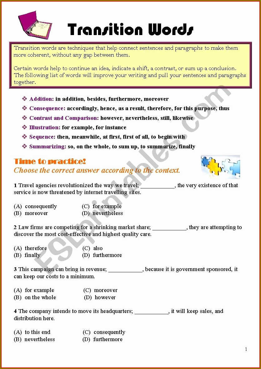 Transition Words Practice Worksheet Beautiful Transition Word Practice Worksheet Answers Worksheet