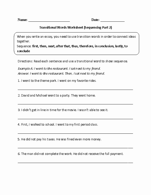 Transition Words Practice Worksheet Beautiful Transitional Words Sequencing Part 2
