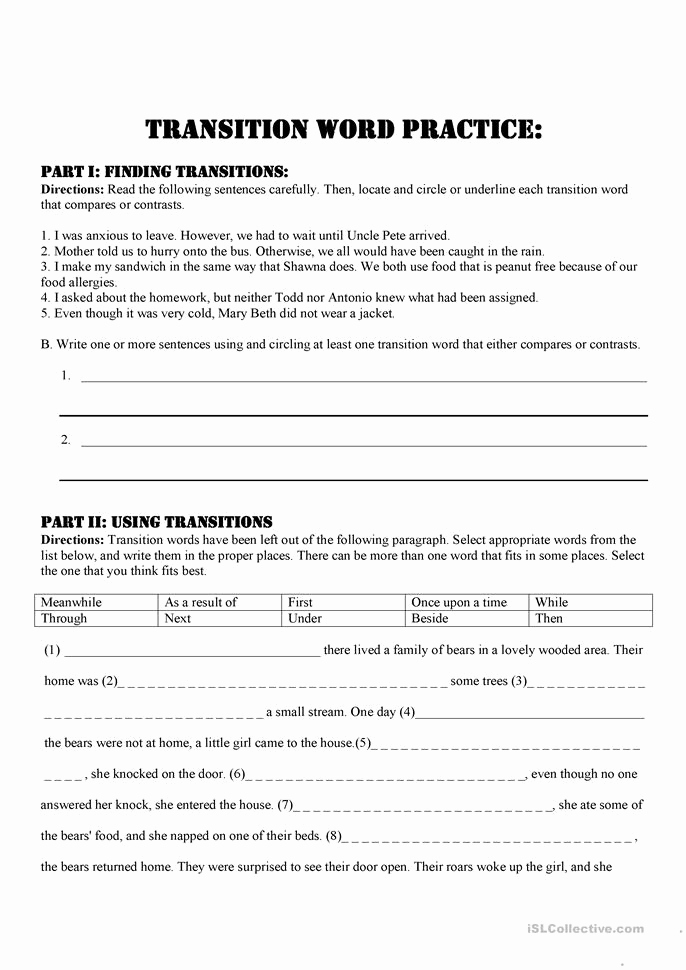 Transition Words Practice Worksheet Inspirational 2 Free Esl Transitions Worksheets