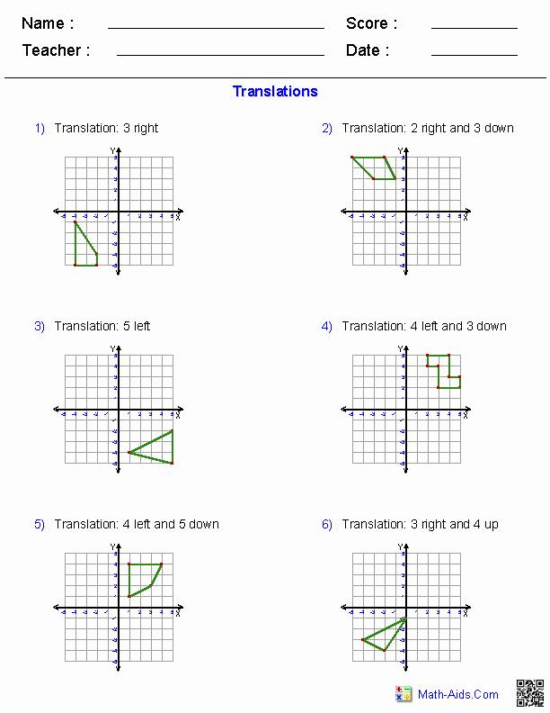 Translation Worksheets Math Beautiful Translation Worksheet