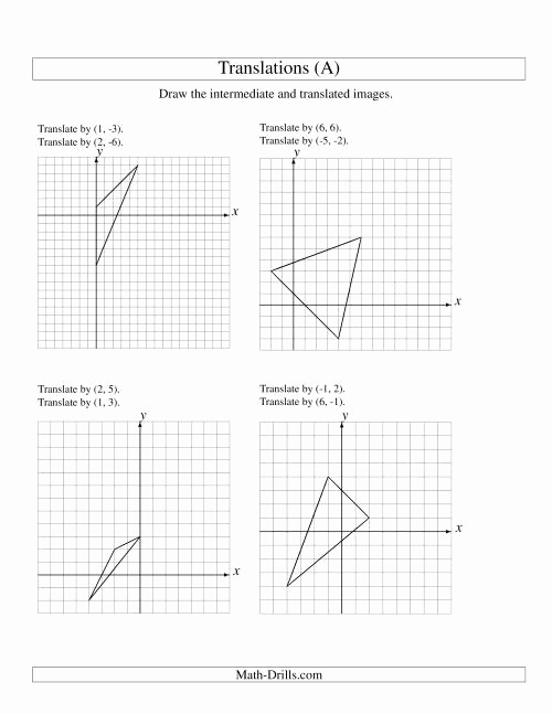 Translation Worksheets Math Fresh Two Step Translation Of 3 Vertices Up to 6 Units A