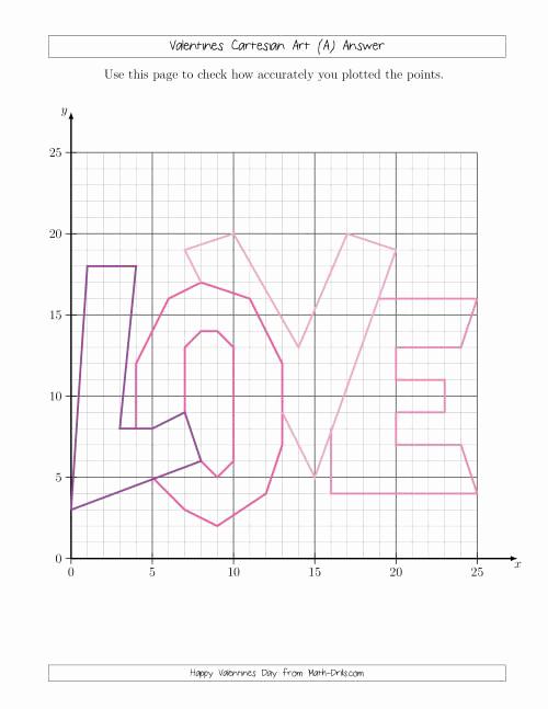 Valentine Day Coordinate Graphing Worksheets Best Of Valentines Cartesian Art Love Valentines Day Math Worksheet