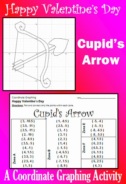 Valentine Day Coordinate Graphing Worksheets Elegant Valentine S Day Cupid S Arrow A Coordinate Graphing