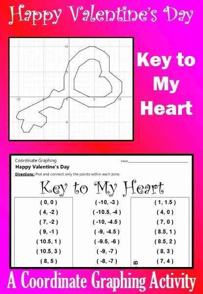 Valentine Day Coordinate Graphing Worksheets Fresh Valentine S Day Key to My Heart A Coordinate Graphing